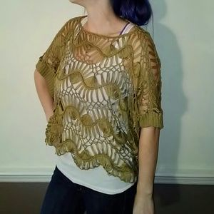 Green crochet knit ya los angeles poncho top
